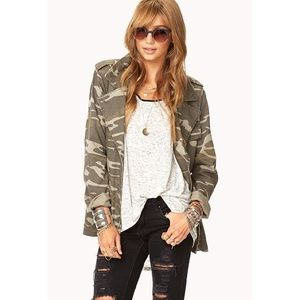 Camo army jacket with cross in back